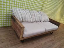 [9成新] Loft工業風拼接實木三人沙發木製沙發無破損有使用痕跡