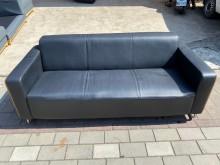 [9成新] 黑皮三人座木紋框沙發雙人沙發無破損有使用痕跡