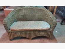 [9成新] 【尚典】藤編造型兩人座皮沙發雙人沙發無破損有使用痕跡