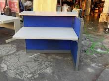 [9成新] 藍色4.2尺屏風辦公桌(含工作臺辦公櫥櫃無破損有使用痕跡