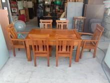 [9成新] 柚木(粗骨)全實木餐桌+6椅組餐桌椅組無破損有使用痕跡