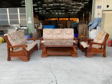 [9成新] 3+2+1木沙發茶几組含軟墊木製沙發無破損有使用痕跡