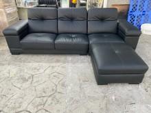 [95成新] 吉田二手傢俱❤L型黑色皮收納沙發L型沙發近乎全新