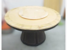 [8成新] E12276*石面圓形餐桌*餐桌有輕微破損