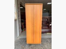 [8成新] 柚木色半實木2.5尺拉門雙桿衣櫃衣櫃/衣櫥有輕微破損