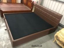 [9成新] 01012110 咖啡皮雙人掀床雙人床架無破損有使用痕跡