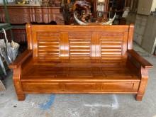 [9成新] 柚木全實木三人座木椅木製沙發無破損有使用痕跡