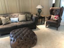 [9成新] 美式沙發工業風家具皮製三層茶几多件沙發組無破損有使用痕跡