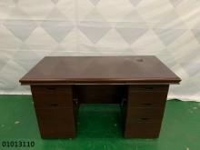 [9成新] 01013110 胡桃色書桌書桌/椅無破損有使用痕跡