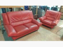 [9成新] 桃紅色2+1半牛皮沙發多件沙發組無破損有使用痕跡