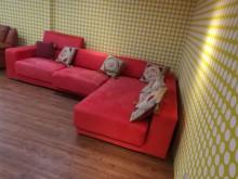 [9成新] 貴氣逼人多功能坐臥絲絨布L型沙發L型沙發無破損有使用痕跡