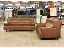 [9成新] 2+3棕色牛皮沙發多件沙發組無破損有使用痕跡