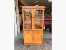 [8成新] 黃橡木實木3尺 中抽玻璃門書櫃書櫃/書架有輕微破損