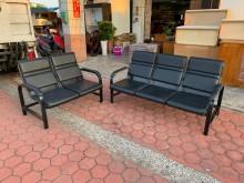 [9成新] 簡易黑色皮革 2+3人座洽談沙發多件沙發組無破損有使用痕跡