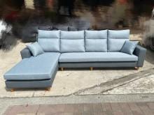 [全新] 經典藍色亞麻布配貓抓皮L型沙發組L型沙發全新