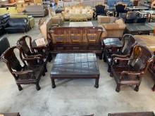 [9成新] 台灣黑檀戰國椅實木沙發組木製沙發無破損有使用痕跡