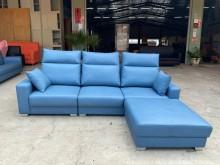 [全新] 新品多功能蒼青藍L型貓抓皮沙發L型沙發全新