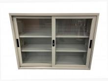 [9成新] C41404*玻璃拉門鐵櫃*辦公櫥櫃無破損有使用痕跡