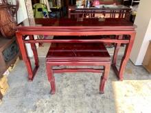 檜木全實木7尺上下座神明桌(瑕疵其它桌椅有明顯破損