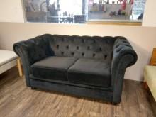[9成新] 時尚絨布雙人布沙發(坐墊可拆洗)雙人沙發無破損有使用痕跡