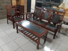 [9成新] 老件原木實木大理石1+3大茶几組木製沙發無破損有使用痕跡