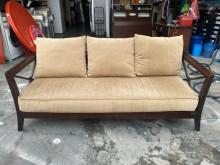 [9成新] 布面木扶手三人沙發*3人座皮沙發雙人沙發無破損有使用痕跡