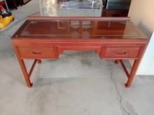 [9成新] 復古實木書桌含玻璃H03720書桌/椅無破損有使用痕跡