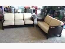 [9成新] 胡桃色木框3+2布沙發多件沙發組無破損有使用痕跡