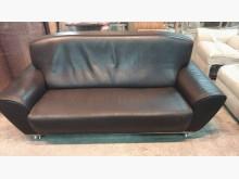 [9成新] 黑色三人座半牛皮沙發雙人沙發無破損有使用痕跡