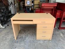 [9成新] 高級橡木紋4尺 電腦桌附三抽矮櫃電腦桌/椅無破損有使用痕跡
