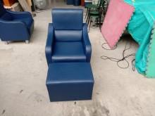 [95成新] 藍色皮製單人沙發含腳座H0386單人沙發近乎全新