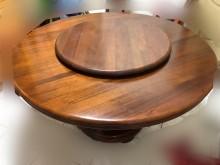 [95成新] 實木圓桌/轉盤/木桌/餐桌書桌/椅近乎全新