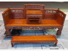 [8成新] 雙人座羅漢椅木製沙發有輕微破損