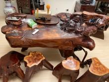 [9成新] 實木傢具雕刻泡茶桌其它桌椅無破損有使用痕跡
