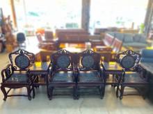 [9成新] 實木鑲大理石太師椅組(兩桌四椅)木製沙發無破損有使用痕跡