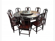 [9成新] 花梨原木餐桌+8椅含轉盤餐桌椅組無破損有使用痕跡