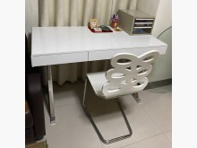 [9成新] 亮白色鋼琴烤漆高級書桌椅組書桌/椅無破損有使用痕跡