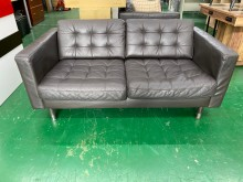 [8成新] 吉田二手傢俱❤IKEA雙人皮沙發雙人沙發有輕微破損
