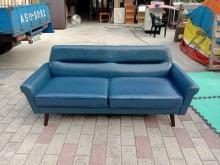 [95成新] 藍色硬皮三人坐沙發H03921雙人沙發近乎全新