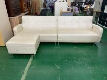 [8成新] 吉田二手傢俱❤L型皮沙發客廳沙發L型沙發有輕微破損