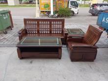 [95成新] 樟木1+3沙發(附坐墊)大小茶几木製沙發近乎全新