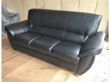 [全新] 701型黑色乳膠厚皮三人沙發椅雙人沙發全新