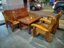 [9成新] 木頭沙發組 1+1+3+大小茶几木製沙發無破損有使用痕跡