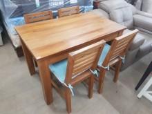 [95成新] 毅昌二手家具~正柚木全實木餐桌椅餐桌椅組近乎全新