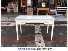 [8成新] 白色三抽古典桌 (附玻璃) 書桌書桌/椅有輕微破損