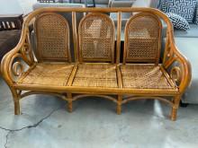 [9成新] 大慶二手家具 藤編三人座沙發籐製沙發無破損有使用痕跡