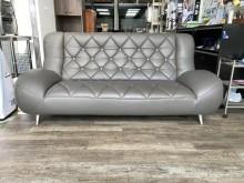 [95成新] 吉田二手傢俱❤灰色半牛皮三人沙發多件沙發組近乎全新