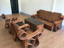 [8成新] 藤制沙發 玻璃桌整組 自取籐製沙發有輕微破損