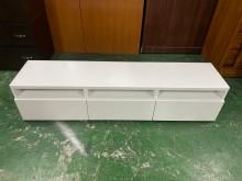 [95成新] IKEA烤白6尺三抽電視櫃(含玻電視櫃近乎全新