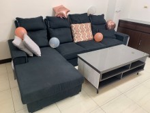 [9成新] 四人座L型沙發(可拆洗)L型沙發無破損有使用痕跡